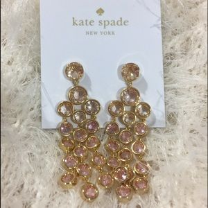 New Kate Spade Sparkle Chandelier Blush Earrings
